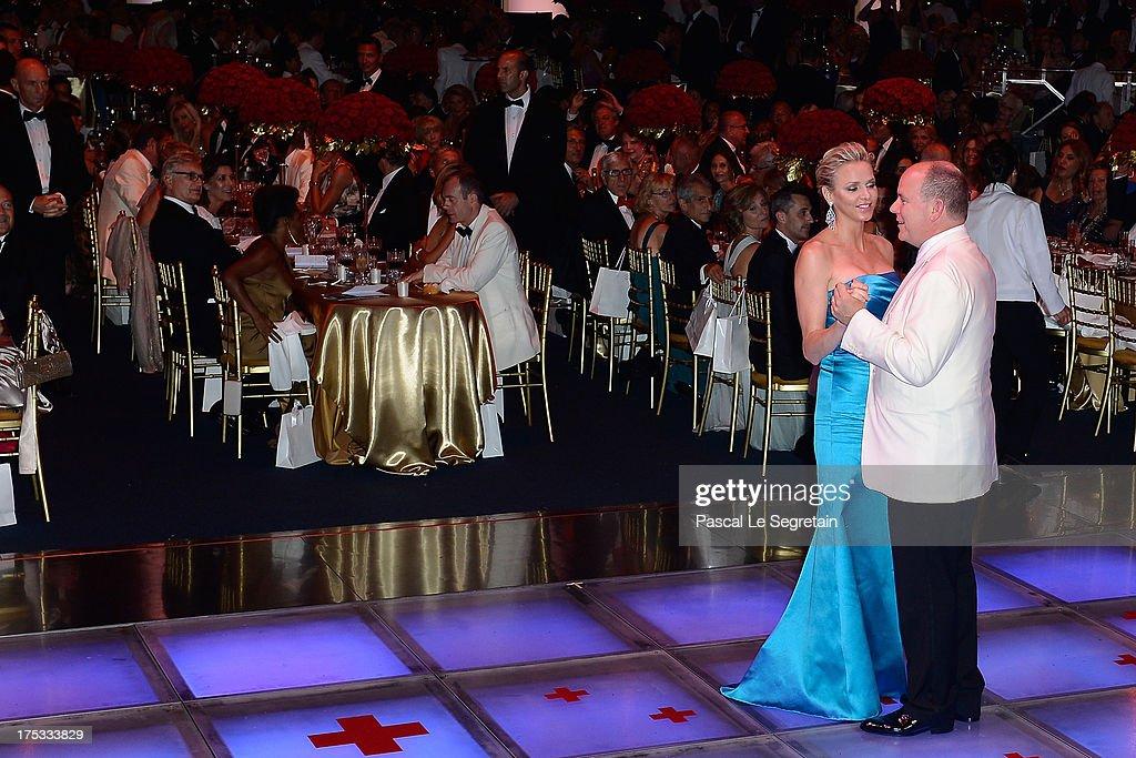 Princess Charlene of Monaco and Prince Albert II of Monaco dance during the 65th Monaco Red Cross Ball Gala at Sporting Monte-Carlo on August 2, 2013 in Monte-Carlo, Monaco.