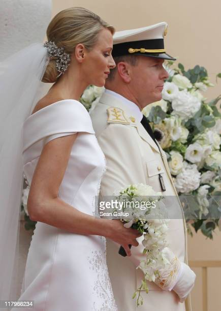 Princess Charlene of Monaco and Prince Albert II of Monaco leave the Prince's Palace after the religious ceremony of their Royal Wedding on July 2...