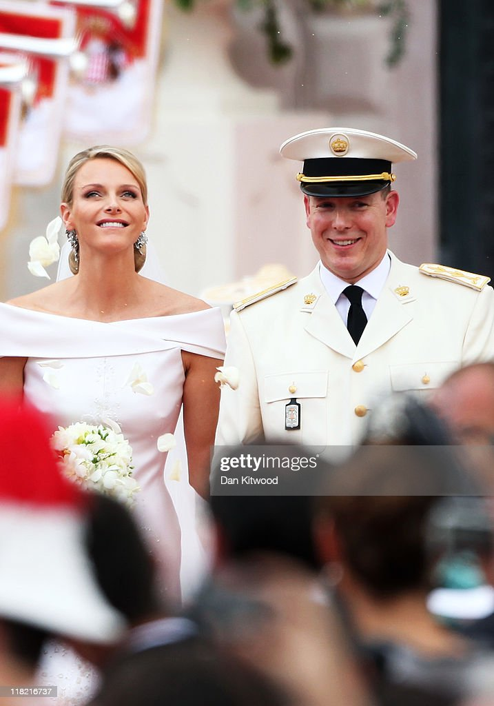 Princess Charlene of Monaco and Prince Albert II of Monaco leave the religious ceremony of the Royal Wedding of Prince Albert II of Monaco to Princess Charlene of Monaco at the Prince's Palace on July 2, 2011 in Monaco. The Roman-Catholic ceremony follows the civil wedding which was held in the Throne Room of the Prince's Palace of Monaco on July 1. With her marriage to the head of state of Principality of Monaco, Charlene Wittstock has become Princess consort of Monaco and gain the title, Princess Charlene of Monaco. Celebrations including concerts and firework displays are being held across several days, attended by a guest list of global celebrities and heads of state.