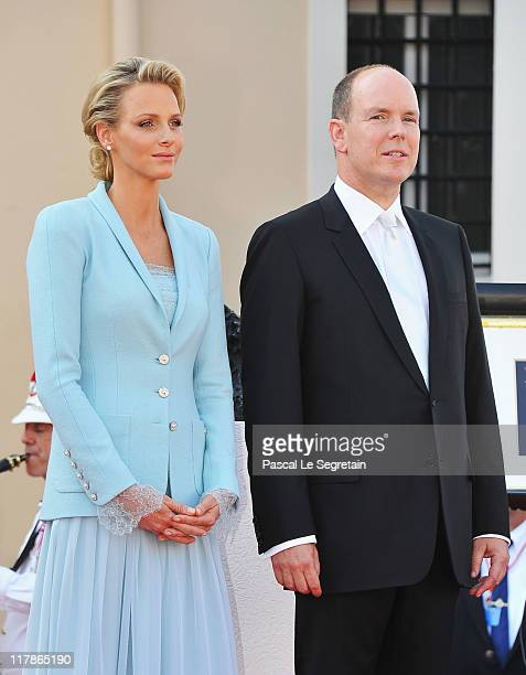 Princess Charlene of Monaco and Prince Albert II of Monaco look on after the civil ceremony of the Royal Wedding of Prince Albert II of Monaco to...