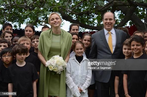 Princess Charlene of Monaco and Prince Albert II of Monaco visit the Les Devens Leisure centre at La Turbie on May 9 2012 in Monaco Monaco