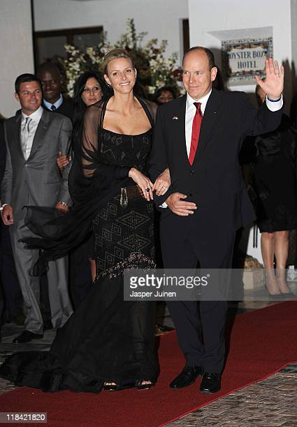 Princess Charlene of Monaco and Prince Albert II pose prior to a dinner party at Oyster Box on July 7 2011 in Durban South Africa