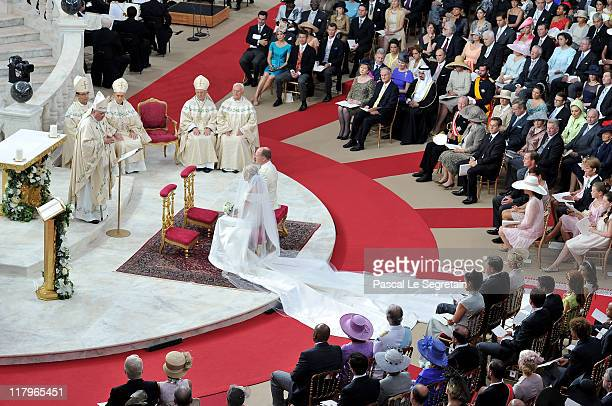 Princess Charlene of Monaco and Prince Albert Of Monaco attend the religious ceremony of the Royal Wedding of Prince Albert II of Monaco to Charlene...