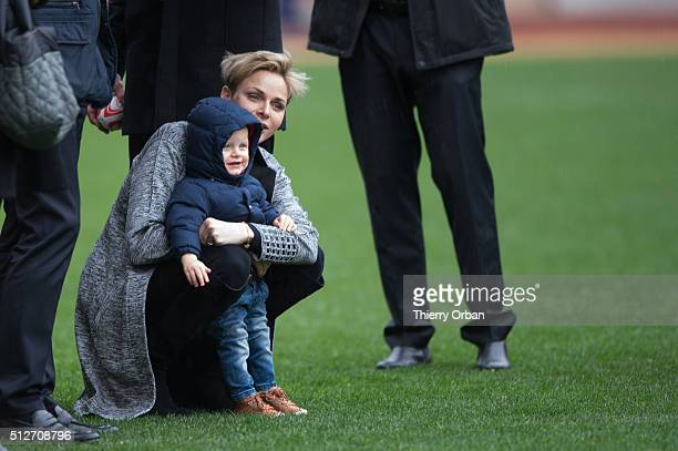 Princess Charlene of Monaco and Prince Jacques attend the 6th Sainte Devote Rugby Tournament at Stade Louis II on February 27 2016 in Monaco Monaco