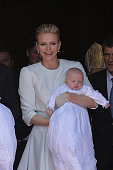 Princess Charlene of Monaco and Prince Jacques of Monaco attend The Baptism Of The Princely Children at The Monaco Cathedral on May 10 2015 in Monaco...