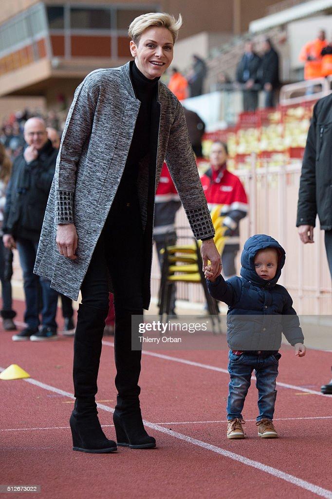 Princess Charlene of Monaco and Prince Jacques of Monaco attend the 6th Sainte Devote Rugby Tournament at Stade Louis II on February 27, 2016 in Monaco, Monaco.