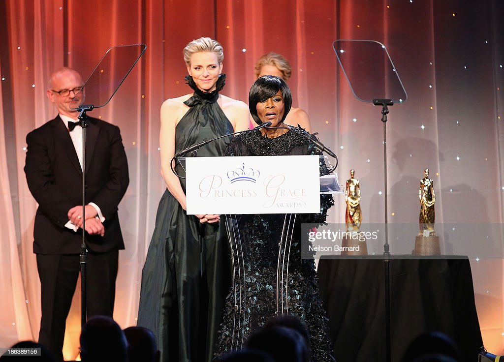 Princess Charlene of Monaco and Prince Rainier III Award Recipient <a gi-track='captionPersonalityLinkClicked' href=/galleries/search?phrase=Cicely+Tyson&family=editorial&specificpeople=211450 ng-click='$event.stopPropagation()'>Cicely Tyson</a> speak onstage at the 2013 Princess Grace Awards Gala at Cipriani 42nd Street on October 30, 2013 in New York City.