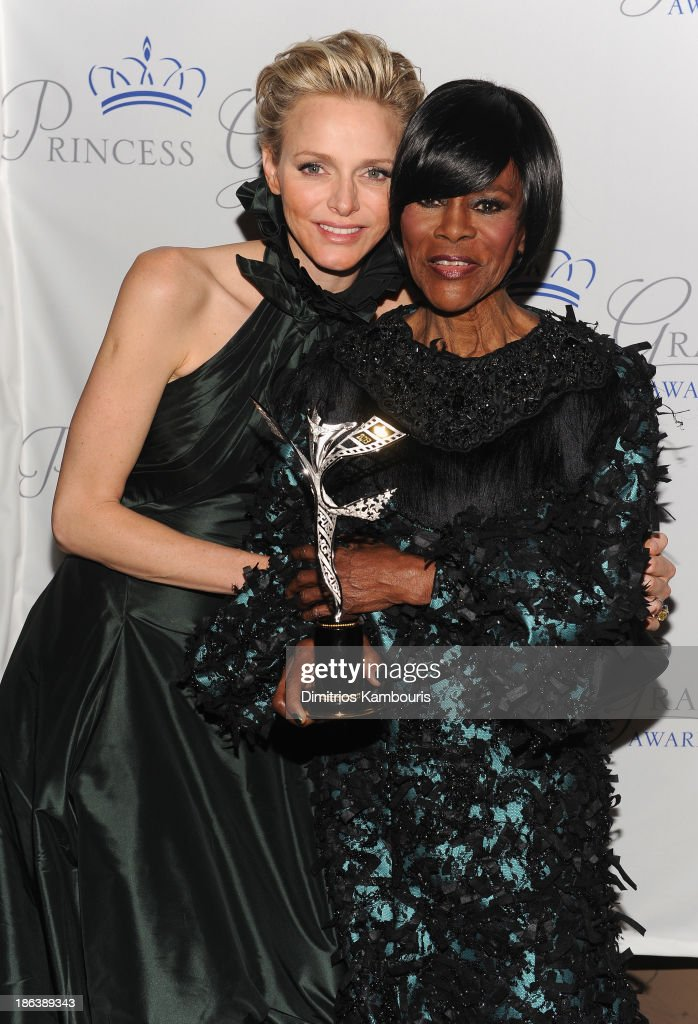 Princess Charlene of Monaco and Prince Rainier III Award Recipient <a gi-track='captionPersonalityLinkClicked' href=/galleries/search?phrase=Cicely+Tyson&family=editorial&specificpeople=211450 ng-click='$event.stopPropagation()'>Cicely Tyson</a> attend the 2013 Princess Grace Awards Gala at Cipriani 42nd Street on October 30, 2013 in New York City.