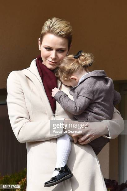 Princess Charlene of Monaco and Princess Gabriella of Monaco attend the Sainte Devote Rugby Tournament on March 18 2017 in MonteCarlo Monaco