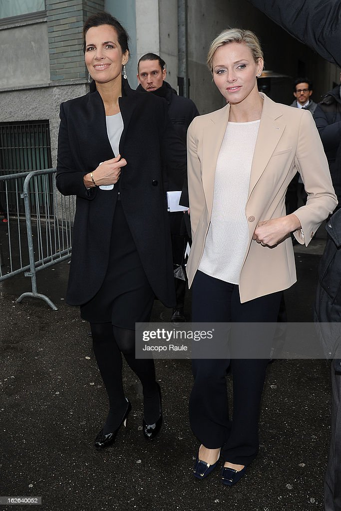 Princess Charlene of Monaco and Roberta Missoni arrive at the Giorgio Armani fashion show as part of Milan Fashion Week Womenswear Fall/Winter 2013/14 on February 25, 2014 in Milan, Italy.