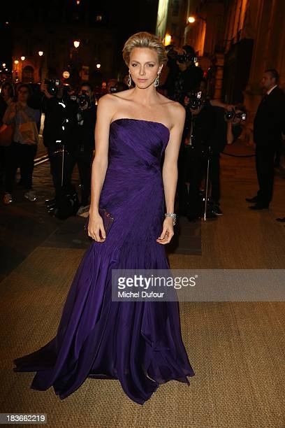 Princess Charlene of Monaco arrives at a Ralph Lauren Collection Show and private dinner at Les BeauxArts de Paris on October 9 2013 in Paris France...
