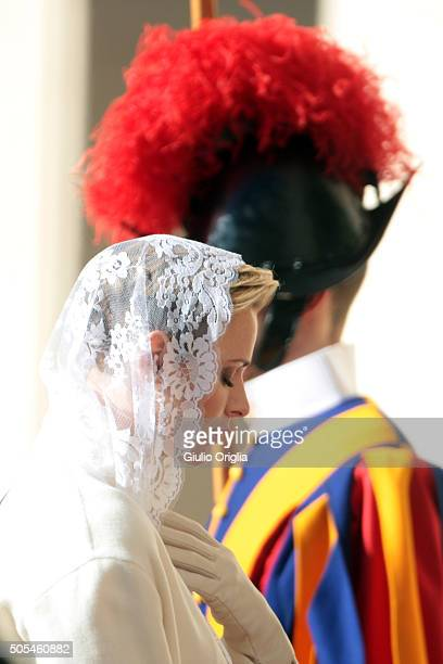 Princess Charlene of Monaco arrives at the Apostolic Palace for an audience with Pope Francis on January 18 2016 in Vatican City Vatican