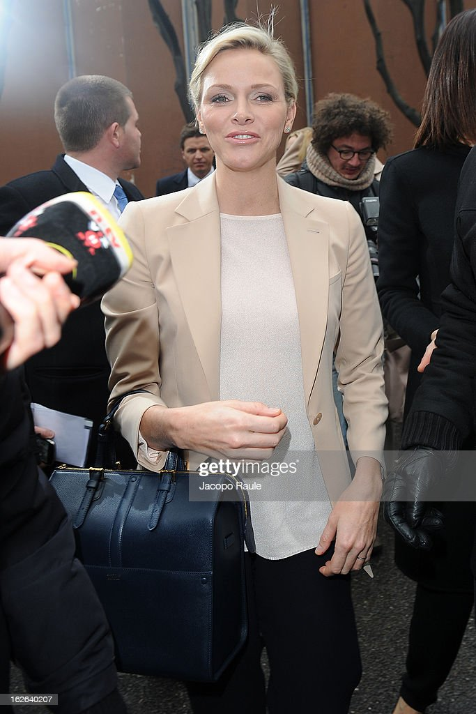Princess Charlene of Monaco arrives at the Giorgio Armani fashion show as part of Milan Fashion Week Womenswear Fall/Winter 2013/14 on February 25, 2014 in Milan, Italy.