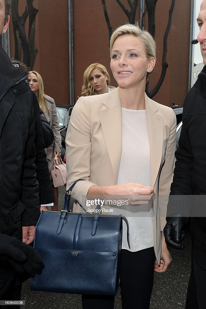 Princess <a gi-track='captionPersonalityLinkClicked' href=/galleries/search?phrase=Charlene+-+Princess+of+Monaco&family=editorial&specificpeople=726115 ng-click='$event.stopPropagation()'>Charlene</a> of Monaco arrives at the Giorgio Armani fashion show as part of Milan Fashion Week Womenswear Fall/Winter 2013/14 on February 25, 2014 in Milan, Italy.