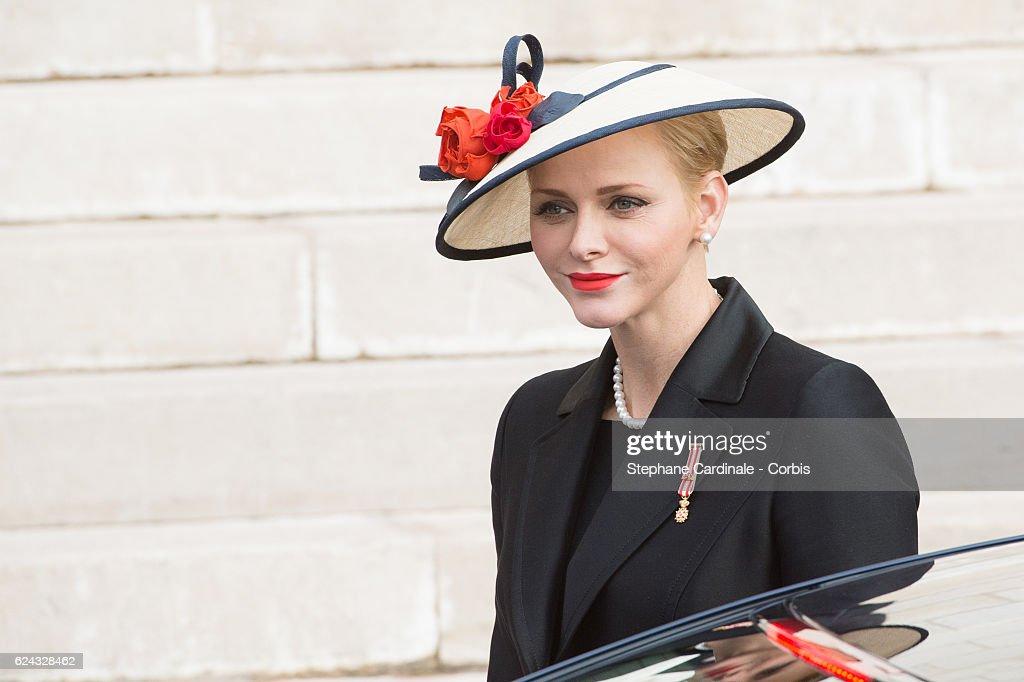 Princess Charlene of Monaco arrives at the Monaco Cathedral prior a Mass on November 19, 2016 in Monaco, Monaco.