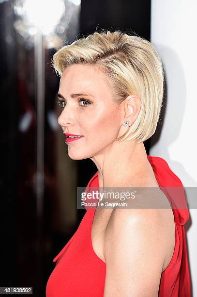 Princess Charlene of Monaco arrives at the Monaco Red Cross Gala on July 25 2015 in MonteCarlo Monaco