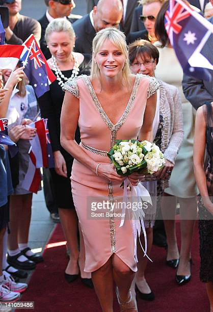 Princess Charlene of Monaco arrives at the opening of the Grace Kelly exhibition at Bendigo Museum on March 10 2012 in Bendigo Australia The late...