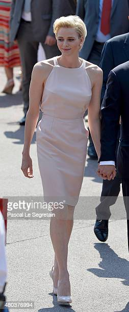 Princess Charlene of Monaco arrives on the Palais Place during the First Day of the 10th Anniversary on the Throne Celebrations on July 11 2015 in...