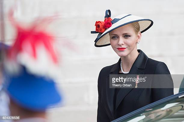 Princess Charlene of Monaco arrives the Cathedral of Monaco before a mass during the Monaco National Day Celebrations on November 19 2016 in Monaco...