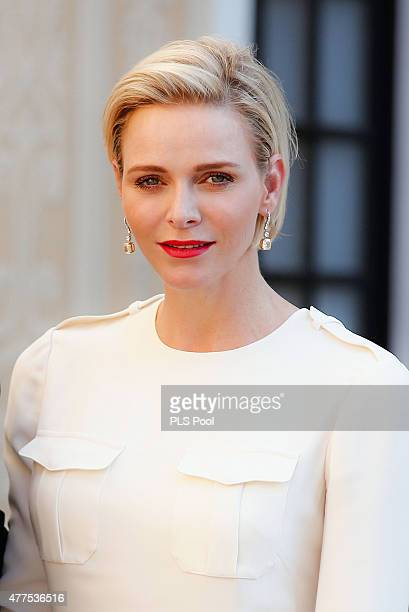 Princess Charlene of Monaco attend the Monaco Palace cocktail party of the 55th Monte Carlo TV festival on June 17 2015 in MonteCarlo Monaco