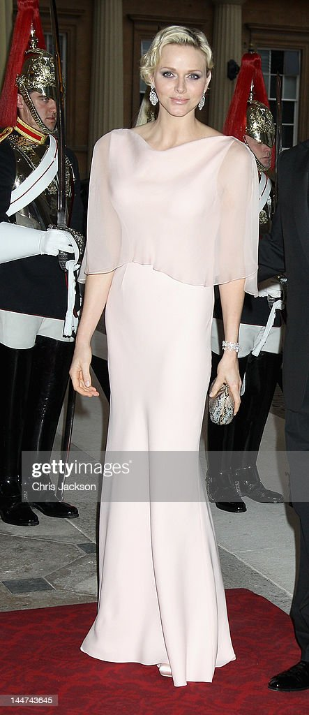 Princess Charlene of Monaco attends a dinner for foreign Sovereigns to commemorate the Diamond Jubilee at Buckingham Palace on May 18, 2012 in London, England. Prince Charles, Prince of Wales and Camilla, Duchess of Cornwall hosted the event.