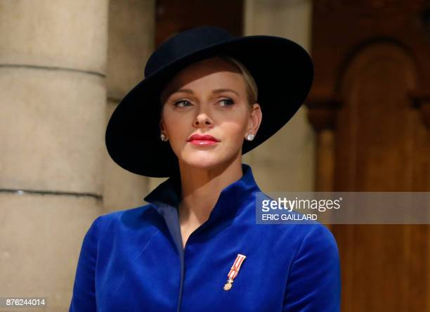 Princess Charlene of Monaco attends a mass at the Saint Nicholas cathedral during the celebrations marking Monaco's National Day on November 19 2017...