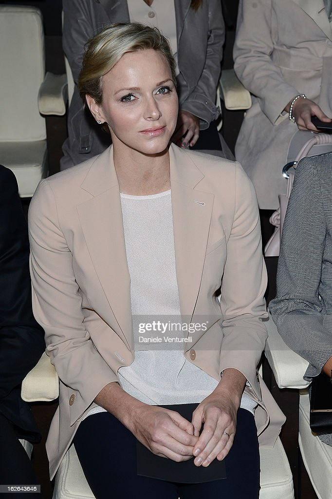 Princess <a gi-track='captionPersonalityLinkClicked' href=/galleries/search?phrase=Charlene+-+Princess+of+Monaco&family=editorial&specificpeople=726115 ng-click='$event.stopPropagation()'>Charlene</a> of Monaco attends at the Giorgio Armani fashion show during Milan Fashion Week Womenswear Fall/Winter 2013/14 on February 25, 2013 in Milan, Italy.