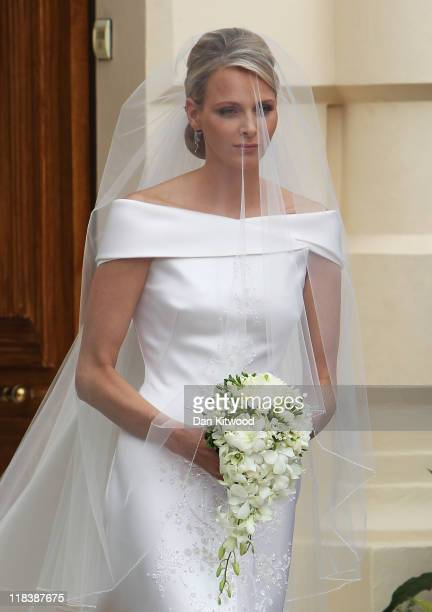 Princess Charlene of Monaco attends her religious ceremony of the Royal Wedding to husband Prince Albert II of Monaco in the main courtyard at the...