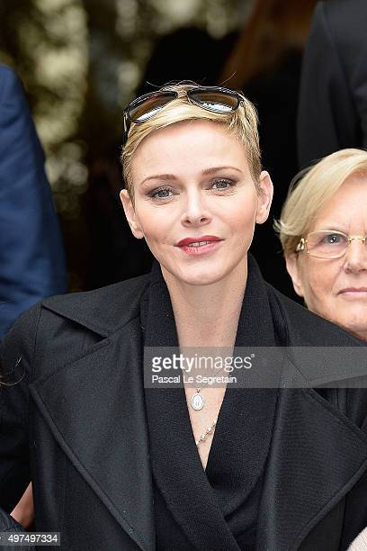Princess Charlene of Monaco attends parcels distribution at the Monaco Red Cross headquarters on November 17 2015 in Monaco Monaco