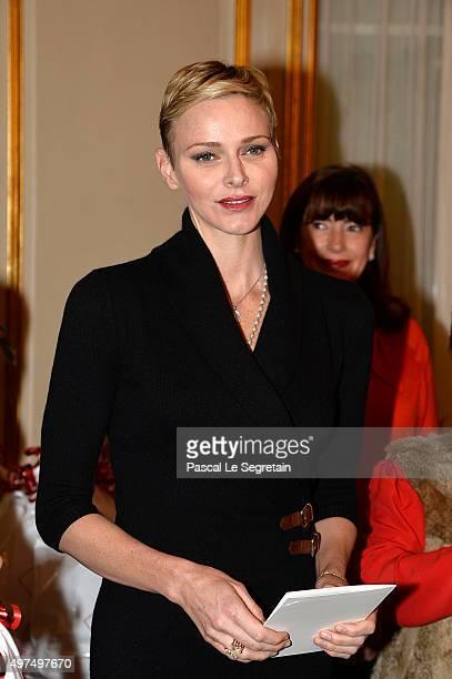 Princess Charlene of Monaco attends parcels distribution at the Monaco Red Cross headquarters on November 17 2015 in Monaco Monaco