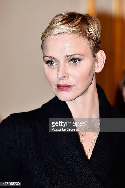 Princess Charlene of Monaco attends parcels distributtion at the Monaco Red Cross headquarters on November 17 2015 in Monaco Monaco