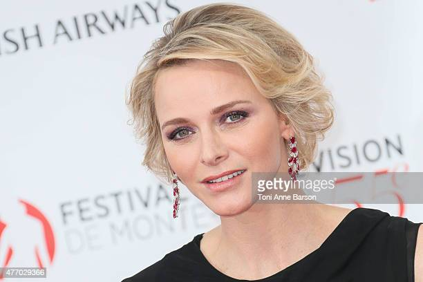 Princess Charlene of Monaco attends the 55th Monte Carlo TV Festival Opening Ceremony at the Grimaldi Forum on June 13 2015 in MonteCarlo Monaco