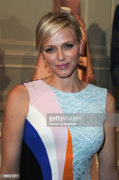 Princess Charlene of Monaco attends the Dior Cruise Collection 2014 cocktail on May 18 2013 in Monaco Monaco