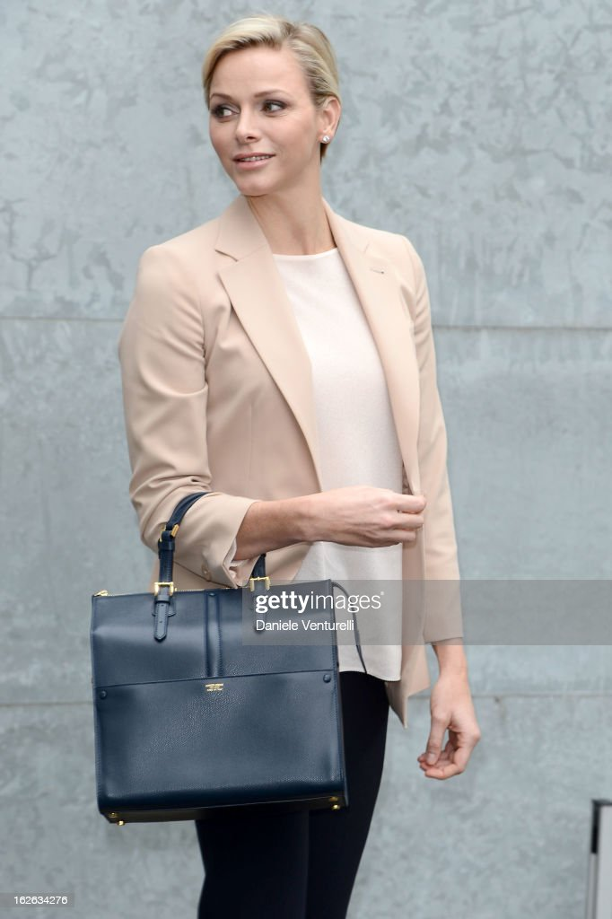 Princess <a gi-track='captionPersonalityLinkClicked' href=/galleries/search?phrase=Charlene+-+Princess+of+Monaco&family=editorial&specificpeople=726115 ng-click='$event.stopPropagation()'>Charlene</a> of Monaco attends the Giorgio Armani fashion show during Milan Fashion Week Womenswear Fall/Winter 2013/14 on February 25, 2013 in Milan, Italy.