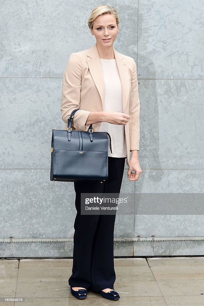 Princess Charlene of Monaco attends the Giorgio Armani fashion show during Milan Fashion Week Womenswear Fall/Winter 2013/14 on February 25, 2013 in Milan, Italy.