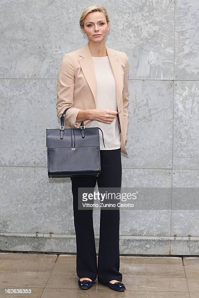 Princess Charlene of Monaco attends the Giorgio Armani fashion show during Milan Fashion Week Womenswear Fall/Winter 2013/14 on February 25 2013 in...