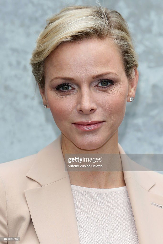 Princess Charlene of Monaco attends the Giorgio Armani fashion show as part of Milan Fashion Week Womenswear Fall/Winter 2013/14 on February 25, 2014 in Milan, Italy.