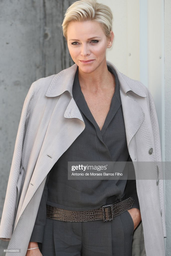 Princess Charlene of Monaco attends the Giorgio Armani show during Milan Fashion Week Spring/Summer 2018 on September 22, 2017 in Milan, Italy.