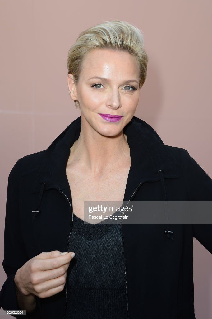 Princess Charlene of Monaco attends the Louis Vuitton show as part of the Paris Fashion Week Womenswear Spring/Summer 2014 at Le Carre du Louvre on October 2, 2013 in Paris, France.