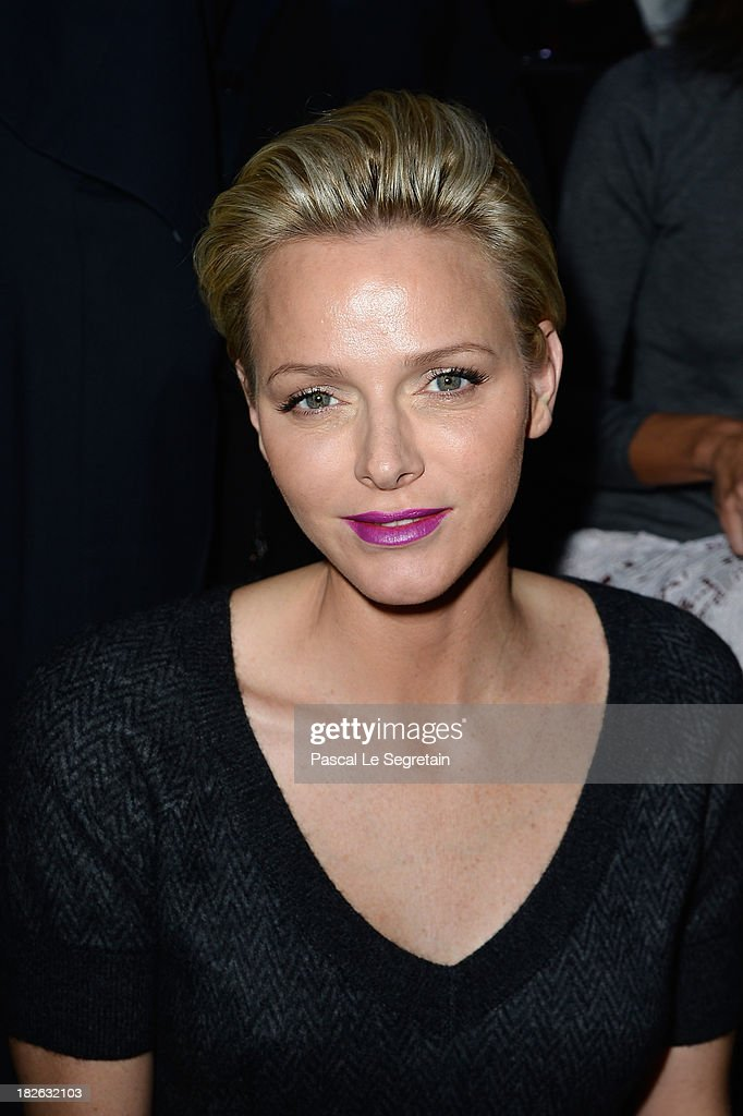 Princess <a gi-track='captionPersonalityLinkClicked' href=/galleries/search?phrase=Charlene+-+Princess+of+Monaco&family=editorial&specificpeople=726115 ng-click='$event.stopPropagation()'>Charlene</a> of Monaco attends the Louis Vuitton show as part of the Paris Fashion Week Womenswear Spring/Summer 2014 at Le Carre du Louvre on October 2, 2013 in Paris, France.