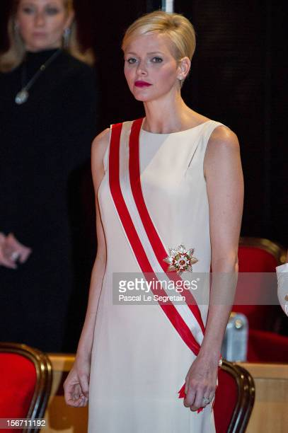 Princess Charlene of Monaco attends the Monaco National day Gala concert as part of Monaco National Day Celebrations at Grimaldi Forum on November 19...
