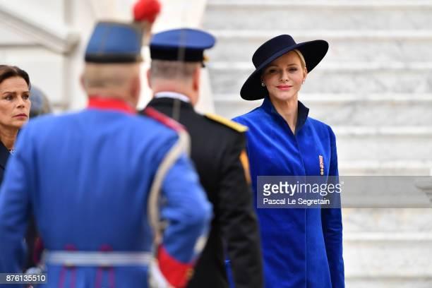 Princess Charlene of Monaco attends the Monaco National Day Celebrations in the Monaco Palace Courtyard on November 19 2017 in Monaco Monaco