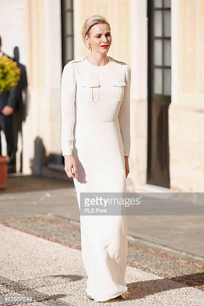 Princess Charlene of Monaco attends the Monaco Palace cocktail party of the 55th Monte Carlo TV festival on June 17 2015 in MonteCarlo Monaco