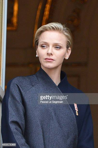 Princess Charlene of Monaco attends the National Day Parade as part of Monaco National Day Celebrations at Monaco Palace on November 19 2013 in...