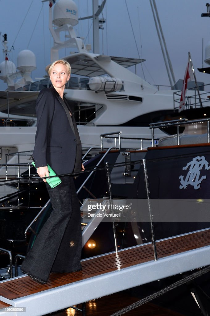 Princess <a gi-track='captionPersonalityLinkClicked' href=/galleries/search?phrase=Charlene+-+Princess+of+Monaco&family=editorial&specificpeople=726115 ng-click='$event.stopPropagation()'>Charlene</a> of Monaco attends the Roberto Cavalli Yacht Party during The 66th Annual Cannes Film Festival on May 22, 2013 in Cannes, France.