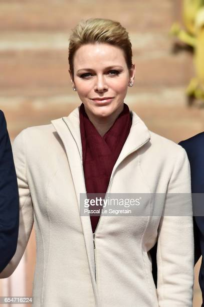 Princess Charlene of Monaco attends the Sainte Devote Rugby Tournament on March 18 2017 in MonteCarlo Monaco