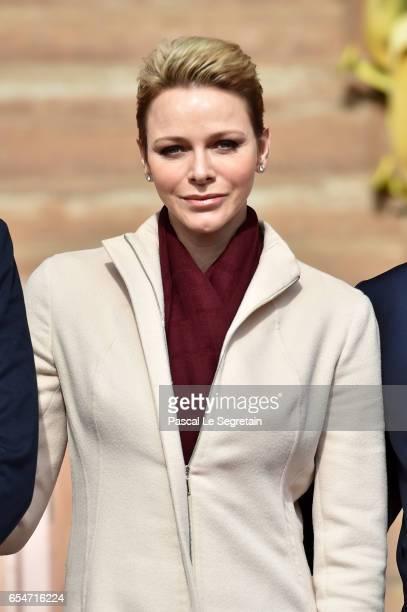 Princess Charlene of Monaco attends the Sainte Devote Rugby Tournament on March 18 2017 in MonteCarlo Monaco