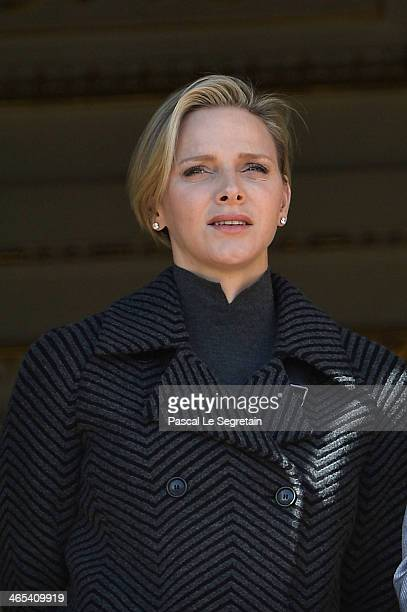Princess Charlene of Monaco attends the SainteDevote ceremony on January 26 2014 in Monaco Monaco