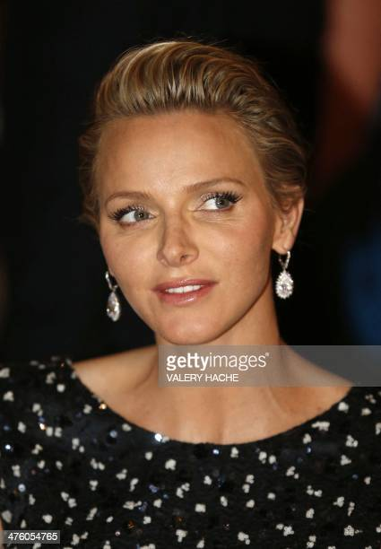 Princess Charlene of Monaco attends the St David's Day gala dinner on March 1 2014 in Monaco Proceeds from the event are going to Princess Charlene...