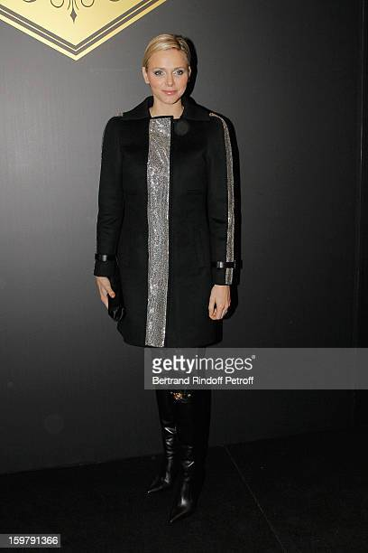 Princess Charlene of Monaco attends the Versace Spring/Summer 2013 HauteCouture show as part of Paris Fashion Week at Le Centorial on January 20 2013...